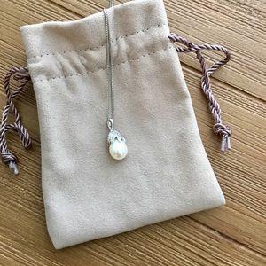 Jewelry - Pearl and Diamond Teardrop Pendant Necklace